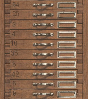 7-938111 Factory 3 Rasch reinbraun Schubladen-Optik Vliestapete