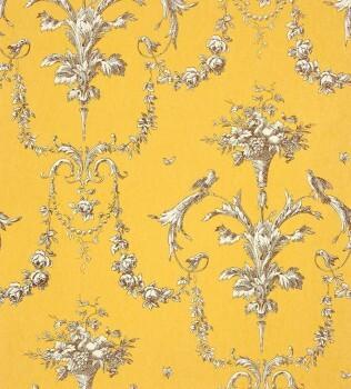 Casadeco - Chantilly 36-CHT22942111 Ornament gelb Vliestapete