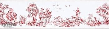 36-CHT22938104 Casadeco - Chantilly rot Vlies-Borte Toile de Jouy