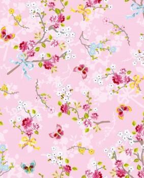 Eijffinger PIP Studio 55-375072, Vliestapete rosa bunte Blumen