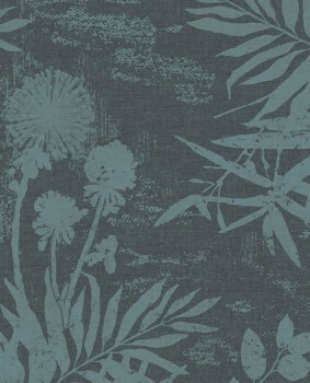 Eijffinger Lino 55-379034 Blumenmuster Petrol Vliestapete