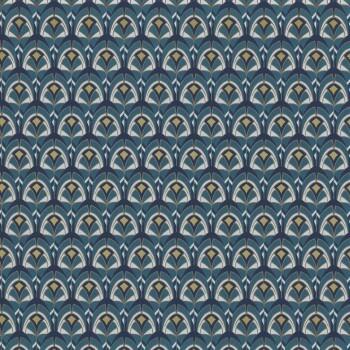 Tapete blau grafische Muscheln 48-74000590 Casamance - Portfolio