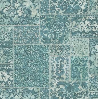 Rasch Textil Restored 23-024060 grün-blau Tapete Stoff Flicken
