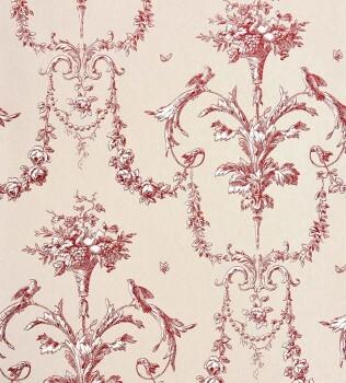 36-CHT22948131 Casadeco - Chantilly rot Ornament Vliestapete
