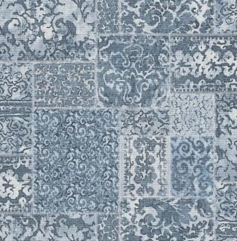 23-024059 Rasch Textil Restored Stoff blau Muster Tapete Flicken