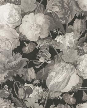 Eijffinger Masterpiece 55-358001, Vliestapete Blumentapete schwarz