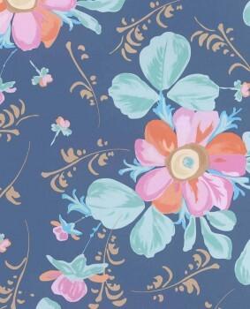 Vliestapete Blau Bunt Blumenmuster