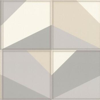 Vliestapete Beige-Graues Muster Leder Optik Rasch Club 419238
