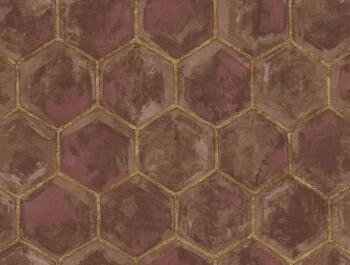 Ambrosia Rasch Textil 23-107608 Tapete ziegelrot gold Waben