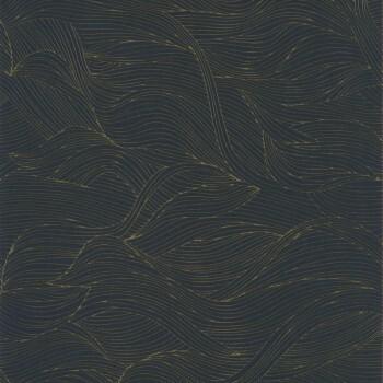 Tapete Blau Gold Wellen