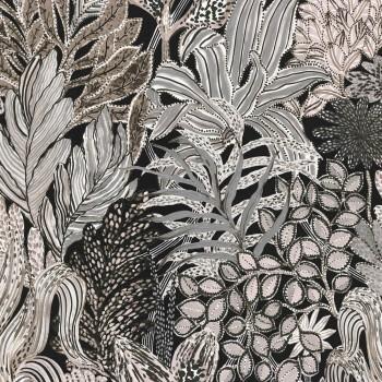 Tapete Schwarz-Graue Blättermotive