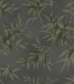Tapete Vlies Grau-grün Blätter Rasch Kimono 409772