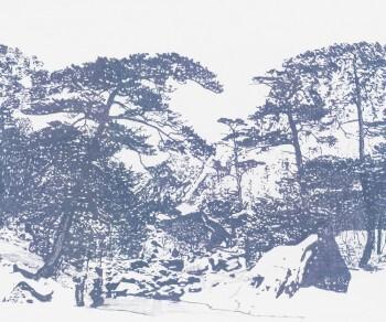 Weiß Blau Wandbild Wald Vlies 62-SAUD211307 Tenue de Ville SAUDADE