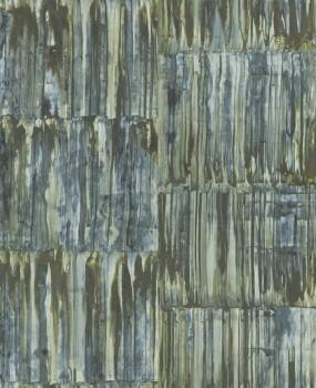 23-024062 Rasch Textil Restored Muster Tapete grün Metall Optik