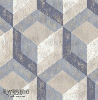 23-022311 Reclaimed Rasch Textil blau Vliestapete Muster grau