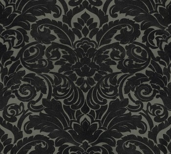 Velourtapete AS Creation Castello 33583-6 schwarz-oliv Verzierung Ornamente