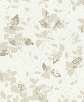 Vlies-Tapete Weiß Glitzer Blumen Beige