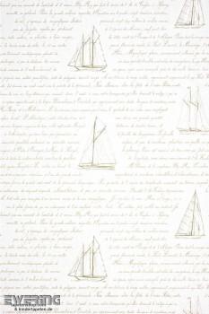 36-MRN25051129 Casadeco - Marina Texdecor creme-weiß Schrift Boot