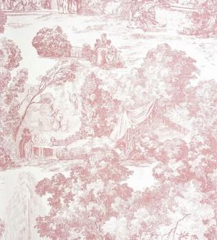 Casadeco - Chantilly 36-CHT22974119 alt-rosa Toile de Jouy Tapete