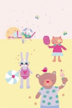 Wandbild Vlies Mädchen Gelb Rosa Tiere