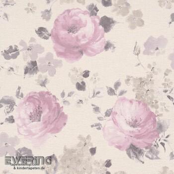 7-448832 Florentine Rasch Vliestapete Blumen Leinenstruktur rosa