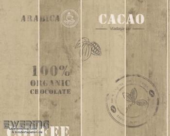 Cocktail 8-8845-10, 8845-10 braun Holz-Paneelen Vliestapete Schrift