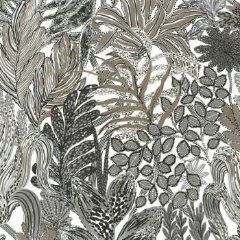Tapete Grau Beige Herbstblätter