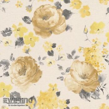 Rasch Florentine 7-448887 Blumen-Muster Leinenstruktur creme