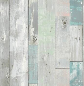 Rasch Textil Restored 23-020416 grau-grün Tapete Vlies Holz Latten