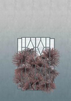 Blaugrün Wandbild Fenster Pflanzen 62-ODED191710 Tenue de Ville ODE
