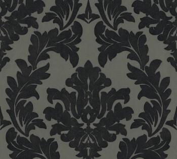 33580-5, 335805 Velourtapete Castello AS Creation schwarz-oliv große Ornamente
