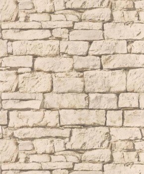 Vliestapete Caselio - Bon Appetit 36-BAP68451010 Steinmauer sand