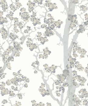 Weiß Grau Baum-Tapete Vlies 62-SAU210603 Tenue de Ville SAUDADE