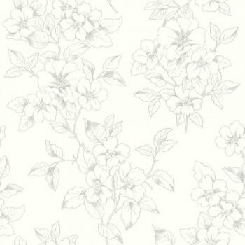 7-801910 Ylvie Rasch Tapete Vlies creme-weiß Blumen dunkel-grau