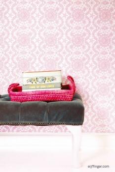 Muster Blumen Glänzend Vlies Tapete Pink