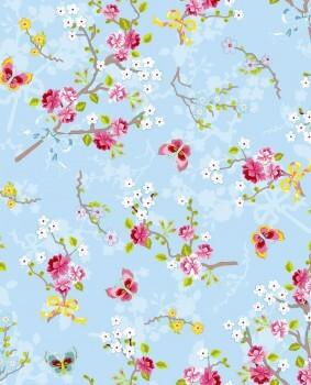 Eijffinger PIP Studio 55-375071, Vliestapete hellblau bunte Blumen