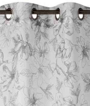 Rasch home 45-199197 Fertigdeko Ösen weiß-grau halbtransparent Blumen