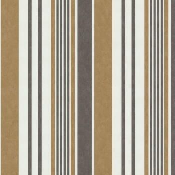 SALE Aktion P+S International 9-42064-20_S Vliestapete verschieden breite Streifen, creme, braun, kupfer