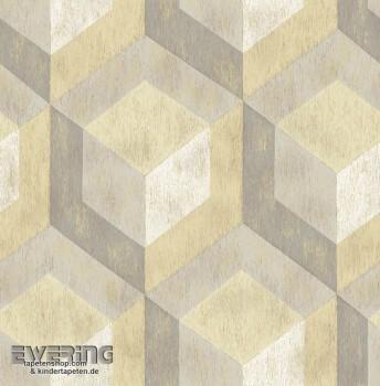 23-022309 Reclaimed Rasch Textil Muster Vliestapete gelb grau