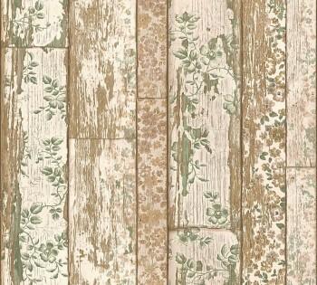 Vliestapete Neue Bude 2.0 AS 8-36119-2, 361192 Holzlatten Blumen beige grün