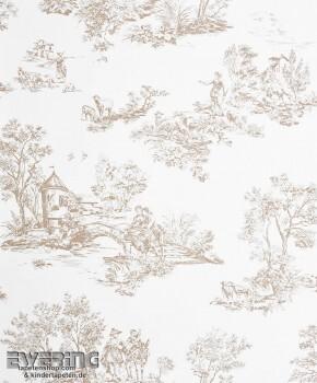 Casadeco - Chantilly 36-CHT22911138 Toile de Jouy beige Tapete