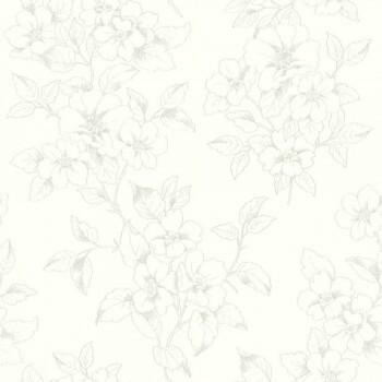 Rasch Ylvie 7-801903 Vliestapete Blumen creme-weiß Glanz silber
