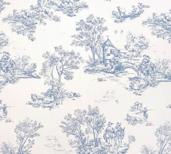 Casadeco - Chantilly 36-CHT22876912 Toile de Jouy Dekostoff blau