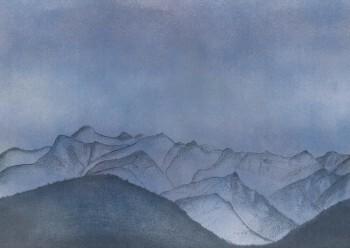 Berge Blau-Violett Wandbild 62-SAUD211107 Tenue de Ville SAUDADE