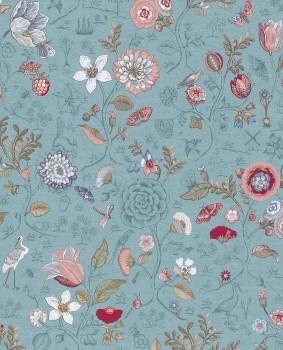 Eijffinger PIP Studio 55-375003, Vliestapete Türkisblau Blumen