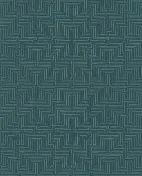 55-376060 Eijffinger Siroc Vliestapete petrol Labyrinth Wohnzimmer