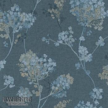 7-449280 Florentine Rasch Blumen-Muster Vlies-Tapete Jeans-blau