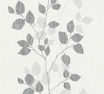 8-34761-4 Vlies-Tapete Happy Spring AS Creation schwarz-grau Blätter