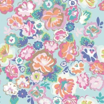 Mint Blumen Wandbild Bunt Mädchen