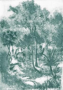 Wandbild Blau Bäume Pflanzen 62-ODED191615 Tenue de Ville ODE